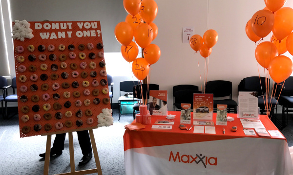 Maxxia event stall with donut wall